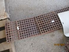 THREE METAL DRAIN GRATES, EACH APPROX 61CMS