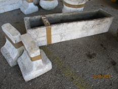 MOULDED CEMENT PLANTER, LENGTH APPROX 76CMSTOGETHER WITH MATCHING STAND
