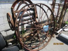 TWO VARIOUS SPOKED METAL WHEELS, EACH APPROX 52INS DIAM