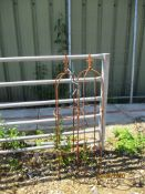 TWO SMALL METAL GARDEN OBELISKS, EACH APPROX 3FT