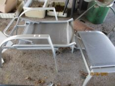 FOLDING METAL GARDEN CHAIR AND MATCHING FOOT STOOL