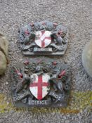 TWO CAST METAL PLAQUES DEPICTING COATS OF ARMS
