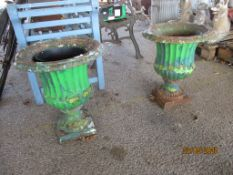 TWO VINTAGE METAL DECORATIVE PLANTERS, EACH APPROX 35CMS DIAM
