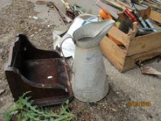 VINTAGE GALVANISED WATER JUG AND OTHER GARDEN SUNDRIES
