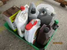 BOX CONTAINING VARIOUS OILS, PART BOTTLES OF OILS, TUB OF VARIOUS SCREWS ETC