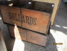 TWO VINTAGE BULLARDS WOODEN BEER CRATES