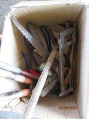 BOX OF VARIOUS GARDEN TOOLS