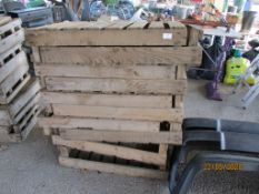 TEN VINTAGE WOODEN FRUIT CRATES, EACH APPROX 66 X 40CMS