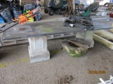SLATE LOW TABLE OR BENCH WITH RECONSTITUTED STONE SUPPORTS, THE TOP APPROX 127CMSLONG