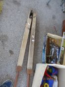 PAIR OF EARLY TO MID-20TH CENTURY WOODEN TENNIS COURT POSTS