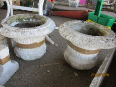 TWO DECORATIVE PLANTERS, EACH APPROX 45CMS DIAM