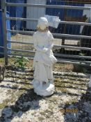 SMALL GARDEN STATUE DEPICTING A WOMAN HEIGHT APPROX 2'