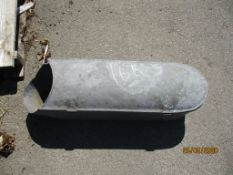 GALVANISED CONTAINER, LENGTH APPROX 60CM TOGETHER WITH A METAL SPIKE, HEIGHT APPROX 48INS