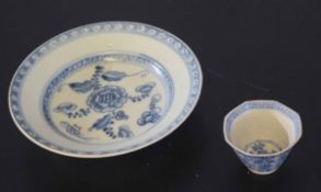 Small Chinese porcelain plate from the Teksing Cargo together with an octagonal tea bowl (2)