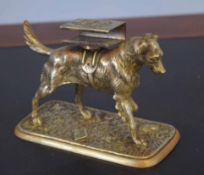Unusual brass or formerly silver plated match case holder in the form of a dog, 10cm high