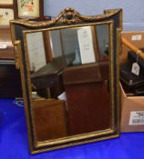 Reproduction gilt metal easel back table top mirror, 32cm wide