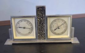 Vintage mantel barometer with chromium frame, 25cm wide