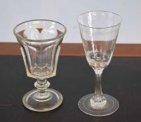 Large wine glass with an etched design of a Greek warrior with geometric design verso