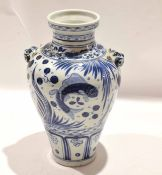 Chinese porcelain vase with provincial style decoration with panels of fish interspersed with floral