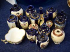 Group of Japanese porcelain miniatures, mainly Satsuma ware, together with a Continental porcelain