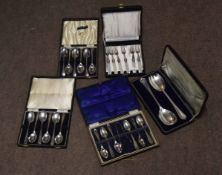Collection of five various cased sets of silver plated cutlery including tea spoons, serving spoons,