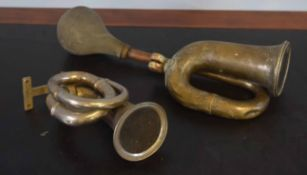 Two vintage taxi horns, 25cm and 43cm long