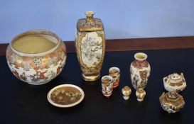 Group of Japanese Satsuma wares including a vase of quatrelobe form, decorated in typical fashion,