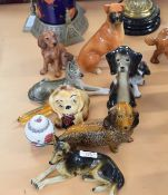 Group of model dogs, Irish Setter, Boxer, Alsatian, made in West Germany and two novelty style