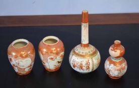 Group of four Kutani porcelain vases