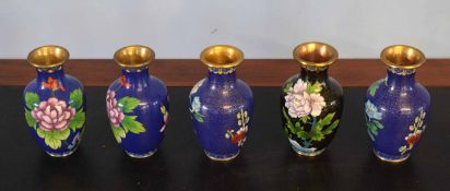 Group of five cloisonne vases, all decorated with flowers on a blue and gilt ground, 13cm high (5)