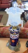 Ceramic cylindrical shaped oil lamp with glass shade