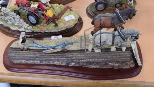 Large model of a ploughing scene with ploughman by Border Fine Arts, the base signed James