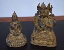 Two Oriental bronzes of Buddhistic deities, largest 20cm high (2)