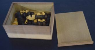 20th century Staunton type chess set, cased