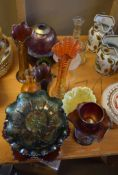 Extensive collection of carnival glass including bowls and vases and lampshade
