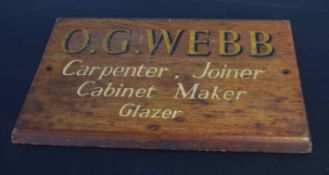"Vintage sign ""O G Webb, Carpenter, Joiner, Cabinet maker and glazer"", 44cm wide"