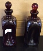 Pair of Bohemian style lobed decanters with ball stoppers with gilt designs (2), 23cm high