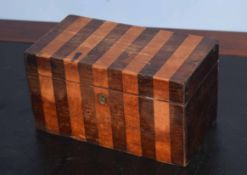 19th century simulated rosewood and banded tea caddy of rectangular form, interior fitted with two