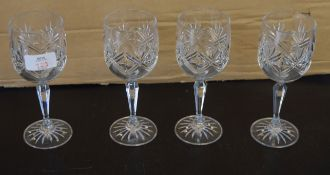 Group of four Edinburgh Crystal wine glasses and a further cut glass fruit bowl (5)