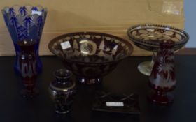 Group of glass wares decorated in Bohemian style, comprising a larger bowl, a tazza, cut glass