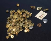Box of various vintage military buttons