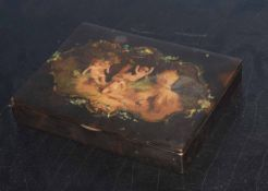 Vintage lacquered box with fitted interior, the lid decorated with a scene of Bacchanalian putti,