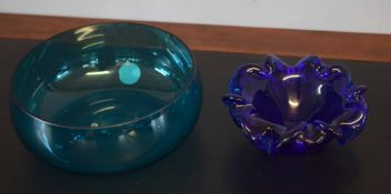 """Blue Murano heavy dish and a blue/green bowl with """"Made in Finland"""" sticker"""