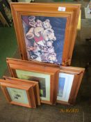 Five various pine framed pictures