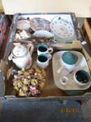 Two trays containing Denby china wares, limited edition Bradford Exchange china etc