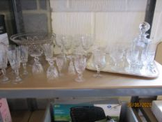 Collection of wine glasses, decanters etc