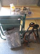 Collection of various household wares to include foldable chair, cutlery, etc