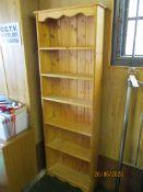 Five tier modern pine bookshelf