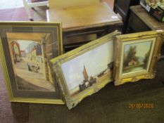 Collection of five various pictures in gilt frames
