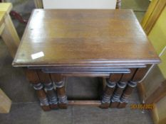 Group of three oak nest of tables